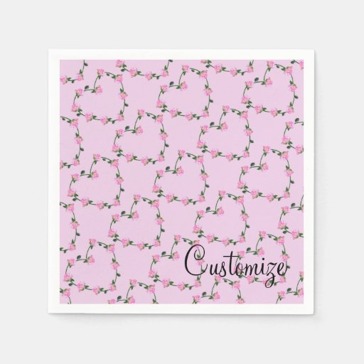 Personalised Pink Rose Hearts Pattern Pink Napkins Standard