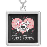 Personalised Pink Skull Necklace