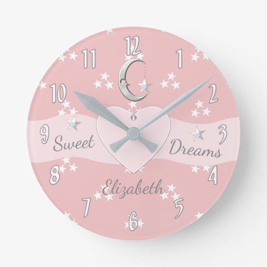 Personalised pink Stars & Moon Round Clock