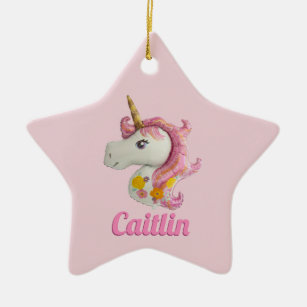 personalised pink unicorn girls christmas ornament - Unicorn Christmas Decorations