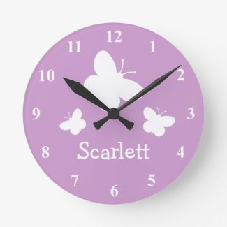 Personalised pink wall clock with butterflies