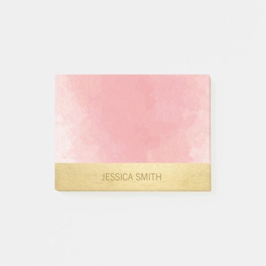 Personalised Pink Watercolor Faux Gold Foil Post-it Notes