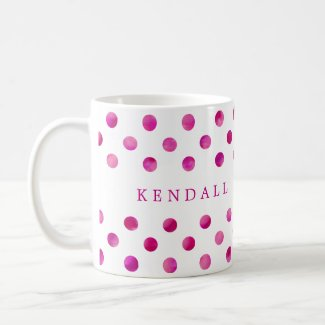 Personalised Pink Watercolor Polka Dots
