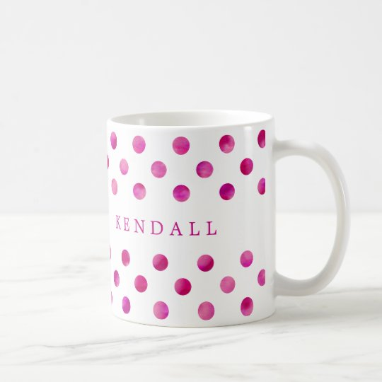 Personalised Pink Watercolor Polka Dots Coffee Mug