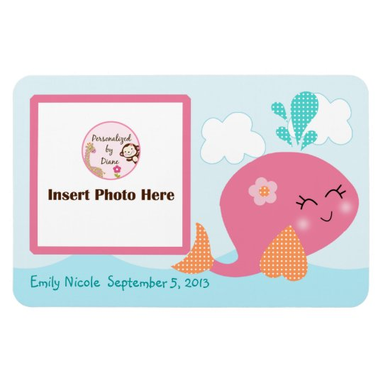 Personalised Pink Whale Photo Magnet Keepsake