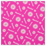 Personalised pink white daisy name pattern fabric