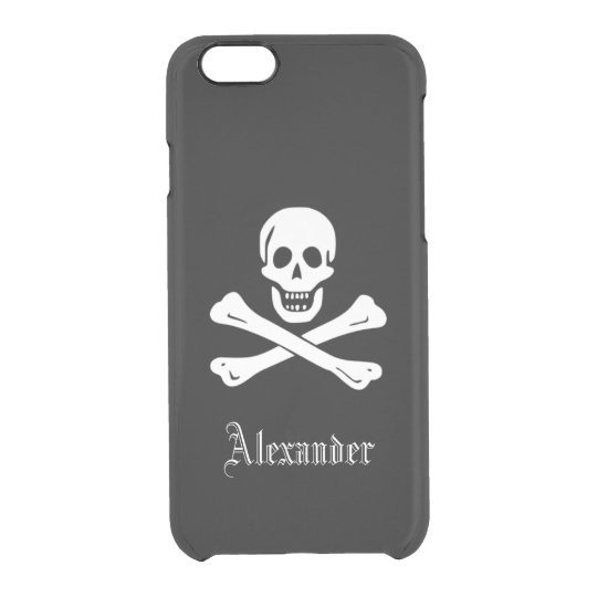 Personalised Pirate Flag Skull and Crossbones Clear iPhone