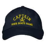 Personalised pirate sailing captains embroidered hat