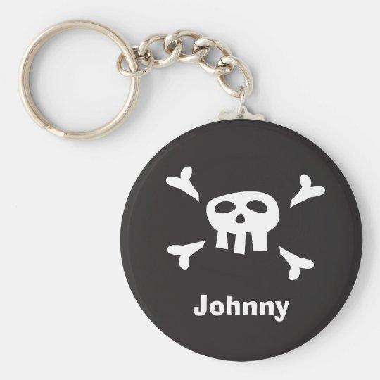 Personalised pirate scull and crossbones keychain