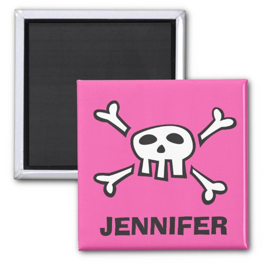 Personalised pirate scull and crossbones magnet