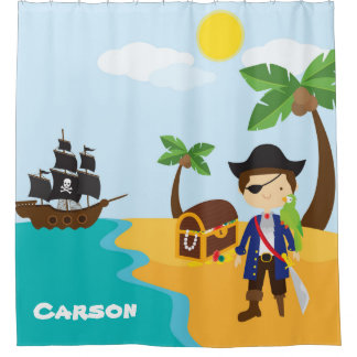 Personalised Pirate Themed, Boy's Shower Curtain
