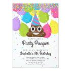 Personalised Poop Emoji Themed Birthday Party Card
