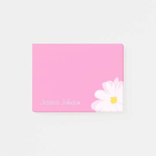 Personalised Post-it® notes | Pink with daisy flow
