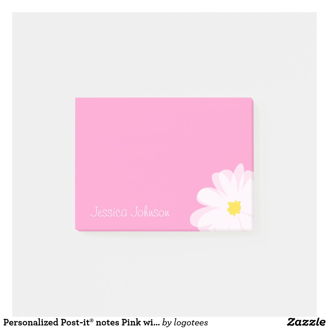 Personalised Post-it notes | Pink with daisy flow