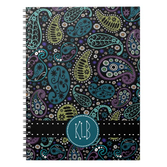 Personalised Pretty as a Peacock Paisley Print Notebooks