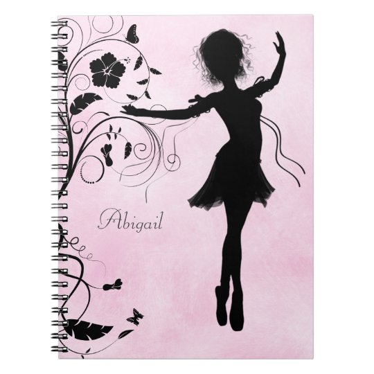 Personalised Pretty Ballerina and Flowers Notebook