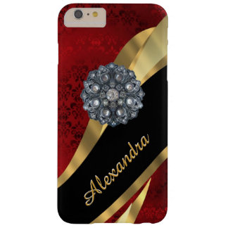 Personalised pretty elegant red damask pattern barely there iPhone 6 plus case