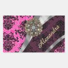 Personalised pretty girly pink damask pattern rectangular sticker