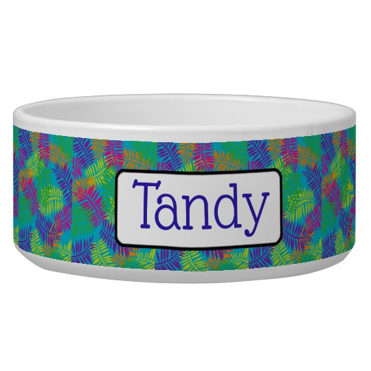 Personalised Pretty Green Blue and Purple Dog Bowl