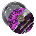 Personalised pretty magenta girly damask pattern 7.5 cm round badge