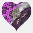 Personalised pretty magenta girly damask pattern heart sticker