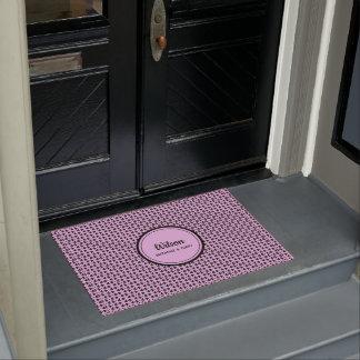 Personalised pretty pink geometric weave doormat