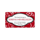 Personalised Pretty Red Paisley Print Bookplate Label