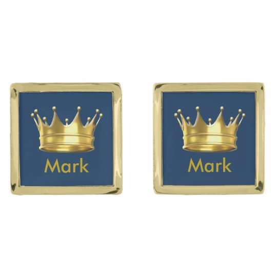 Personalised Prince Crown Cufflinks Gold Finish Cufflinks