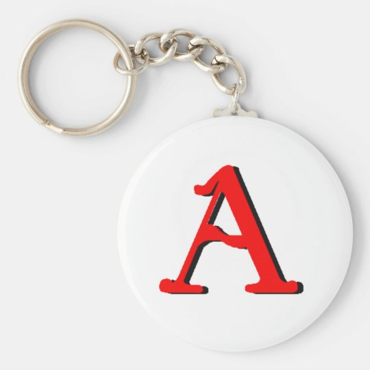 Personalised Products: Initial A Basic Round Button Key Ring