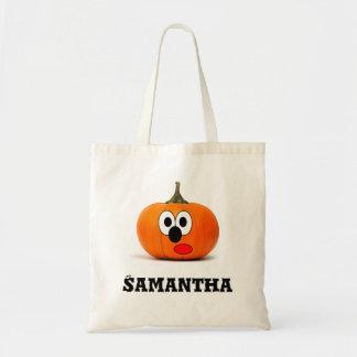 Personalised pumpking trick treat custom tote bag