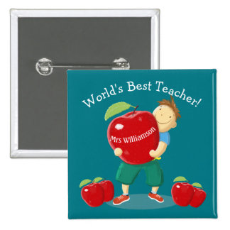 Personalised Pupil With Apple World's Best Teacher 15 Cm Square Badge