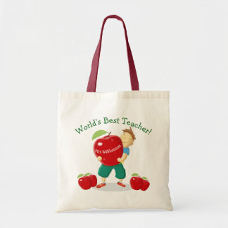 Personalised Pupil With Apple World's Best Teacher Budget Tote Bag
