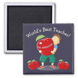 Personalised Pupil With Apple World's Best Teacher Square Magnet