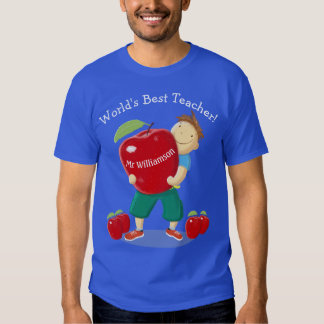 Personalised Pupil With Apple World's Best Teacher T-shirt