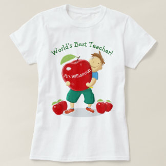 Personalised Pupil With Apple World's Best Teacher T Shirts