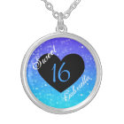 Personalised: Purple And Blue Sweet 16 Necklace