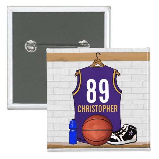Personalised Purple and Gold Basketball Jersey 15 Cm Square Badge