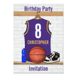 Personalised Purple and Gold Basketball Jersey 13 Cm X 18 Cm Invitation Card
