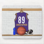 Personalised Purple and Gold Basketball Jersey Mousemat