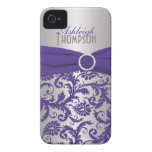 Personalised Purple and Silver Damask