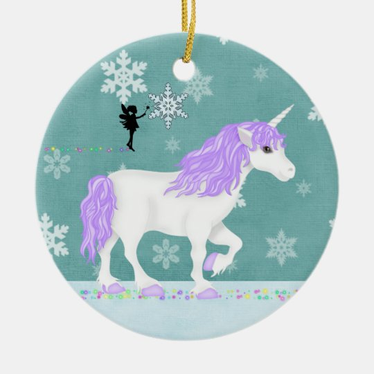 Personalised Purple and White Unicorn and Fairy Christmas