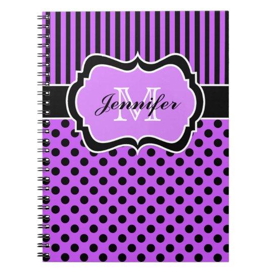 Personalised Purple Black White Striped Polka Dots Spiral