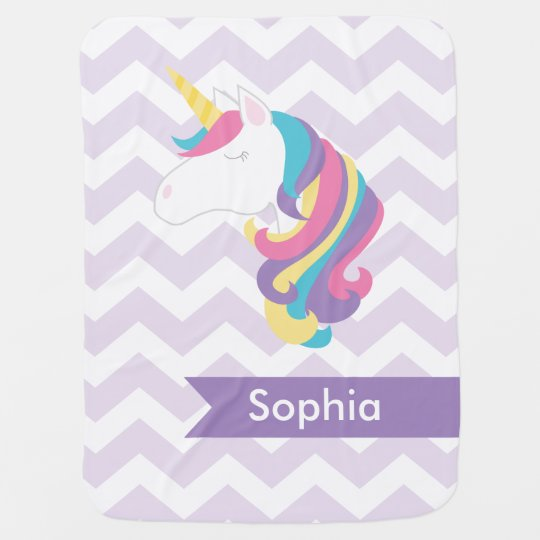 Personalised Purple Chevron Unicorn Baby Blanket