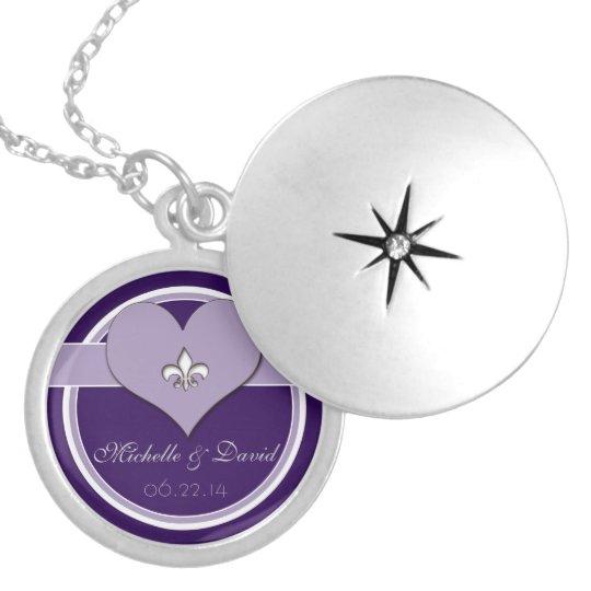 Personalised Purple Fleur de Lis Heart Keepsake Locket Necklace
