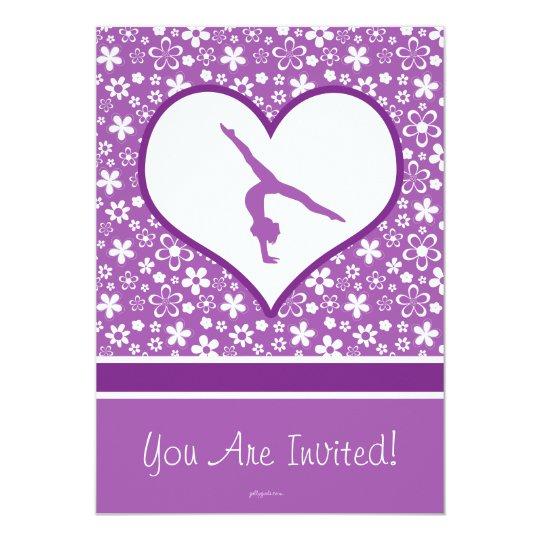 Personalised Purple Flowers Pattern Gymnastics Card