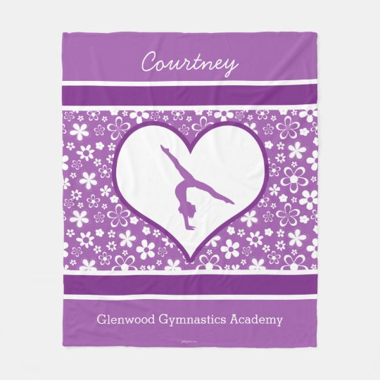 Personalised Purple Flowers Pattern Gymnastics Fleece Blanket