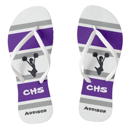 Personalised Purple & Grey Cheerleader Flip Flops