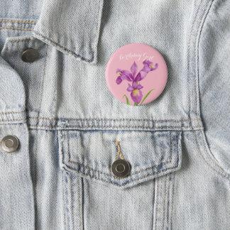 Personalised Purple Iris Botanical Floral Badge
