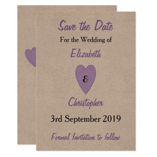 Personalised purple kraft Wedding Save the Date Card