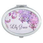 Personalised Purple Lilacs Mirror For Makeup